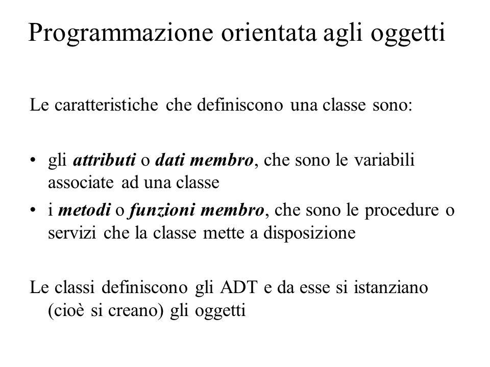 Programmazione orientata agli oggetti Le caratteristiche che definiscono una classe sono: gli attributi o dati membro, che sono le variabili associate ad una classe i metodi o funzioni membro, che sono le procedure o servizi che la classe mette a disposizione Le classi definiscono gli ADT e da esse si istanziano (cioè si creano) gli oggetti