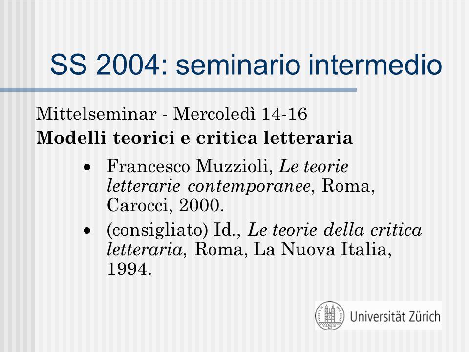 SS 2004: seminario intermedio Mittelseminar - Mercoledì 14-16 Modelli teorici e critica letteraria  Francesco Muzzioli, Le teorie letterarie contemporanee, Roma, Carocci, 2000.