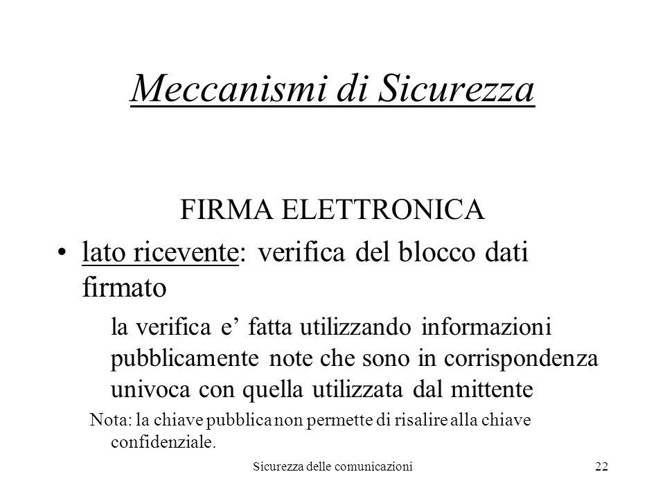 Sicurezza delle comunicazioni22 Meccanismi di Sicurezza FIRMA ELETTRONICA lato ricevente: verifica del blocco dati firmato la verifica e' fatta utiliz