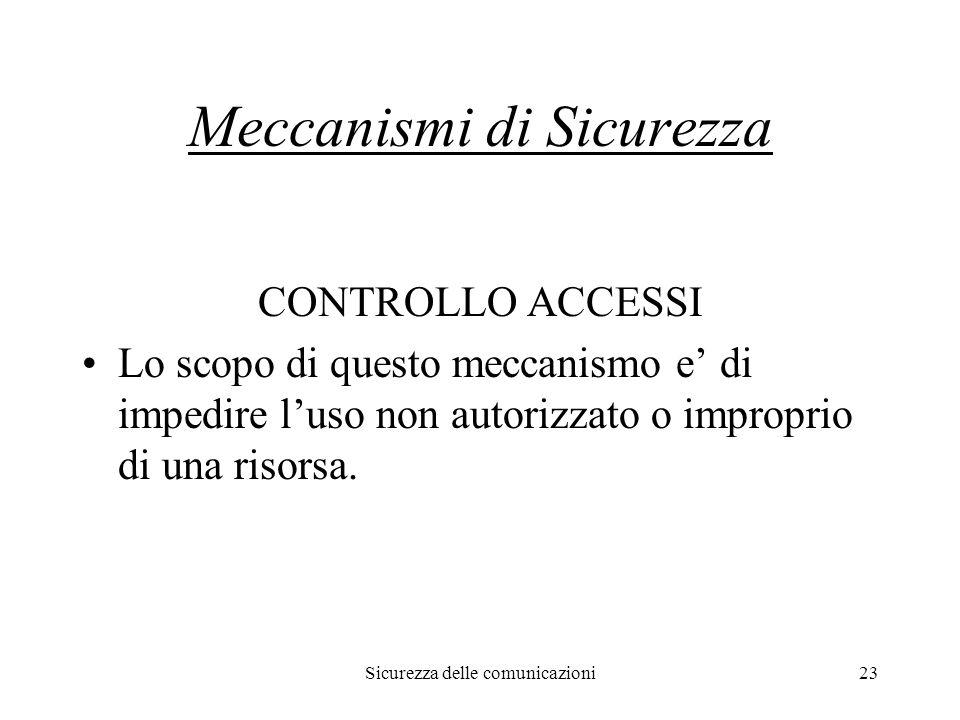 Sicurezza delle comunicazioni23 Meccanismi di Sicurezza CONTROLLO ACCESSI Lo scopo di questo meccanismo e' di impedire l'uso non autorizzato o improprio di una risorsa.