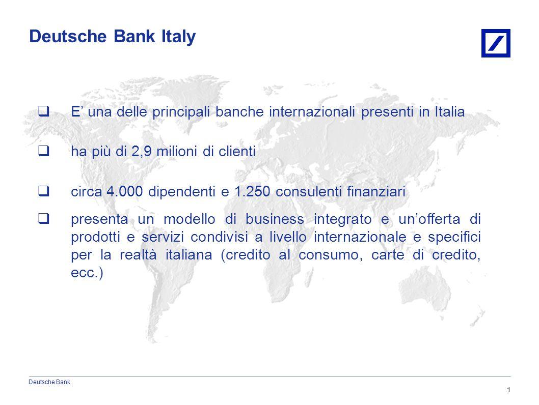 Deutsche Bank 6/20/20152010 DB Blue template 1  E' una delle principali banche internazionali presenti in Italia  ha più di 2,9 milioni di clienti  circa 4.000 dipendenti e 1.250 consulenti finanziari  presenta un modello di business integrato e un'offerta di prodotti e servizi condivisi a livello internazionale e specifici per la realtà italiana (credito al consumo, carte di credito, ecc.) Deutsche Bank Italy