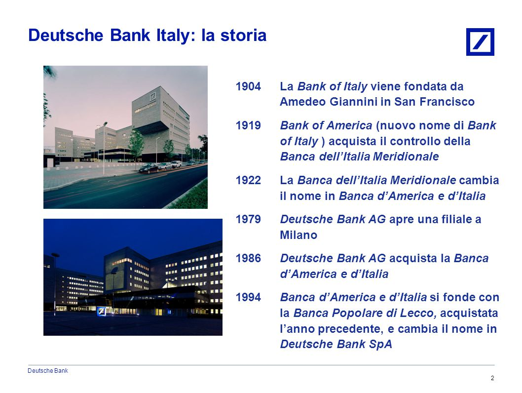 Deutsche Bank 6/20/20152010 DB Blue template 3 Deutsche Bank Italy: la sua struttura 2010 DB Blue template DEUTSCHE BANK Retail Banking Global Banking Commercial BankingCorporate & Investment Banking Private Banking Asset Management Global Markets Global Transaction Banking