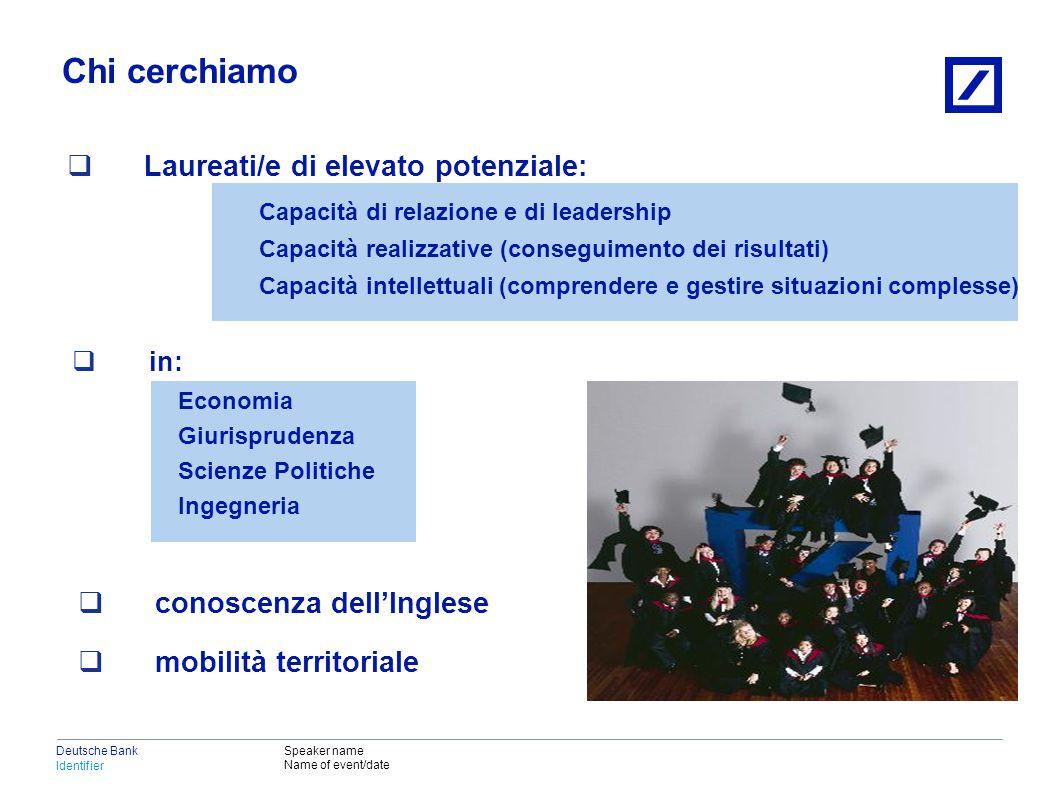 Deutsche Bank La nostra proposta Una carriera veloce in grado di portare i migliori collaboratori in posizioni direzionali (es.