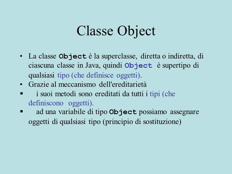 Classe Object La classe Object è la superclasse, diretta o indiretta, di ciascuna classe in Java, quindi Object è supertipo di qualsiasi tipo (che definisce oggetti).