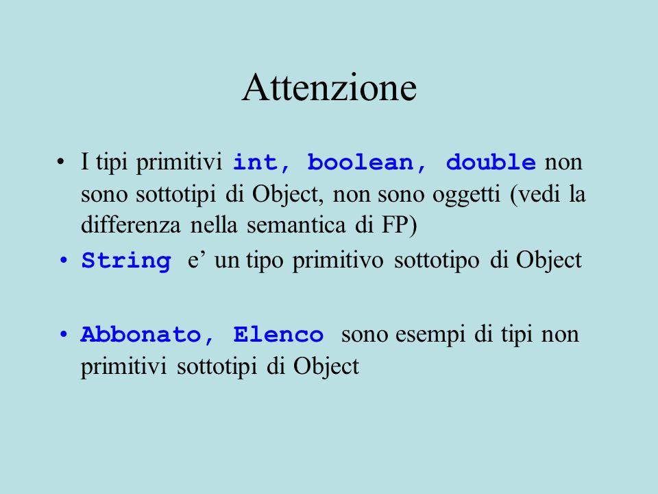 Attenzione I tipi primitivi int, boolean, double non sono sottotipi di Object, non sono oggetti (vedi la differenza nella semantica di FP) String e' un tipo primitivo sottotipo di Object Abbonato, Elenco sono esempi di tipi non primitivi sottotipi di Object