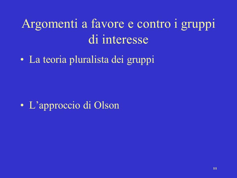 10 Le risorse a disposizione dei gruppi Risorse numeriche (la dimensione della membership) La rappresentatività Risorse economico-finanziarie Risorse
