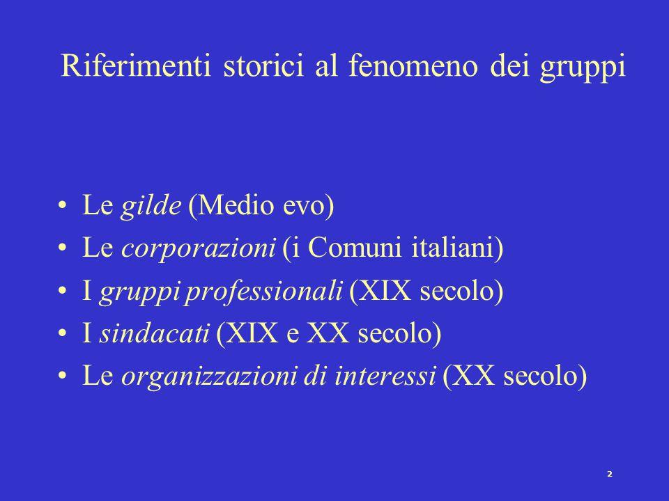 1 Gruppi e movimenti Definizione di gruppo Caratteristiche fondamentali dei gruppi di interesse La teoria pluralista dei gruppi e la critica di Olson