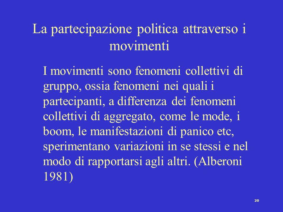19 La partecipazione politica attraverso i movimenti Il concetto di movimento sociale si riferisce a …reti di interazioni prevalentemente informali ba