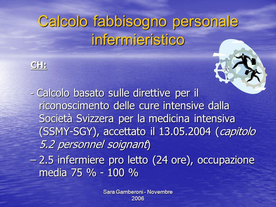 Sara Gamberoni - Novembre 2006 Calcolo fabbisogno personale infermieristico CH: - Calcolo basato sulle direttive per il riconoscimento delle cure inte