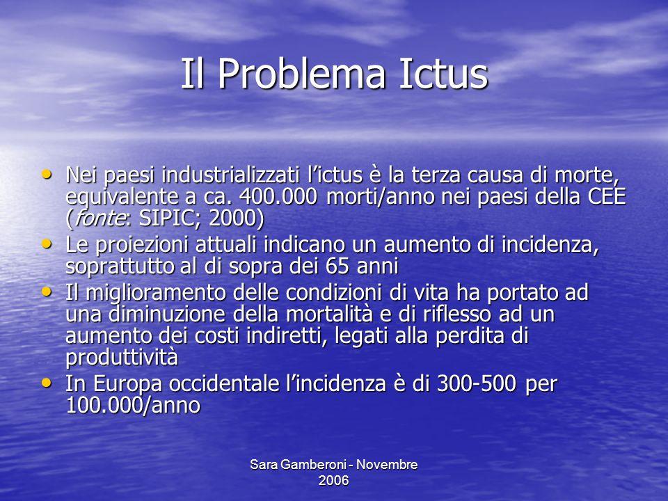 Sara Gamberoni - Novembre 2006 Il Problema Ictus Nei paesi industrializzati l'ictus è la terza causa di morte, equivalente a ca. 400.000 morti/anno ne