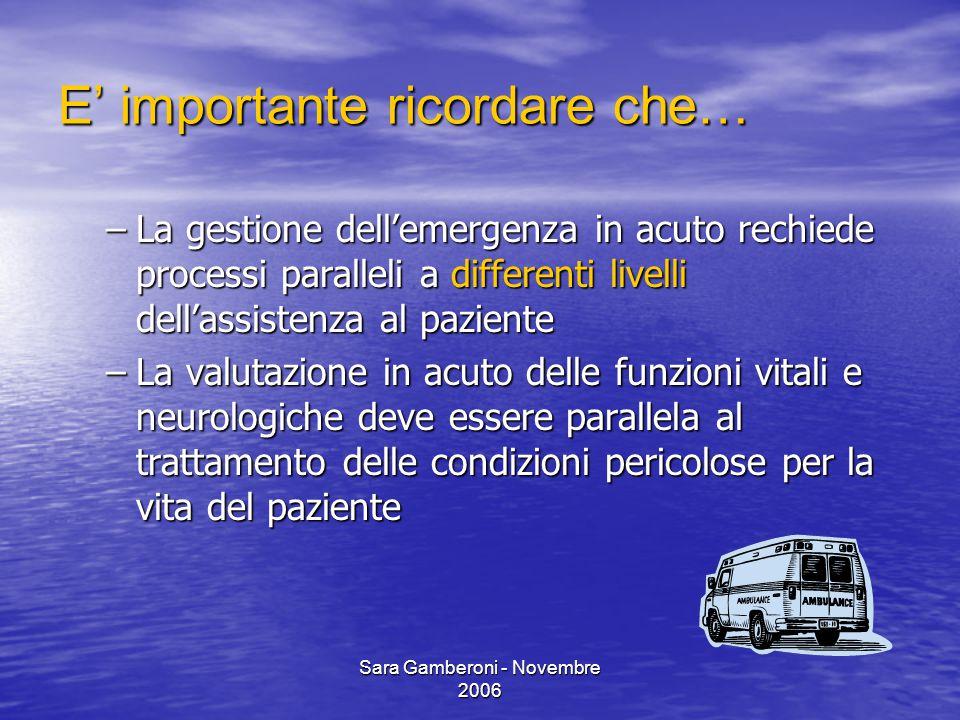 Sara Gamberoni - Novembre 2006 E' importante ricordare che… –La gestione dell'emergenza in acuto rechiede processi paralleli a differenti livelli dell