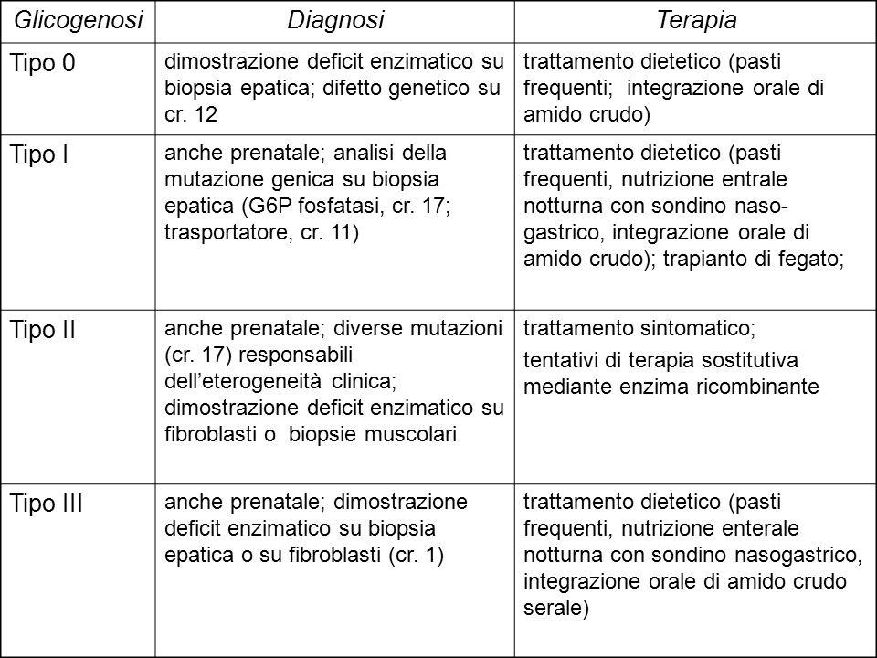 Tipo IV anche prenatale; dimostrazione deficit enzimatico e glicogeno anormale su biopsia epatica Mantenimento normo-glicemia; trapianto di fegato Tipo V diverse mutazioni (cr.