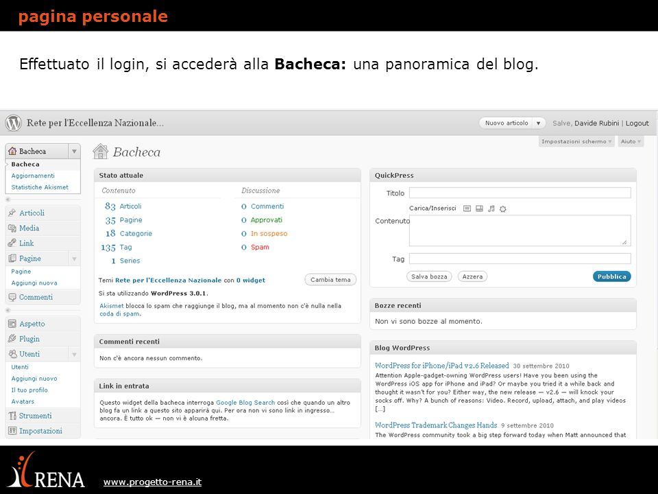 www.progetto-rena.it pagina personale Modifica Profilo: sezione utenti