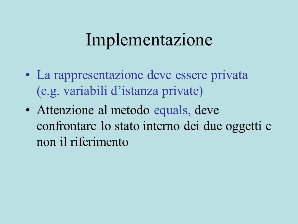 Implementazione La rappresentazione deve essere privata (e.g.