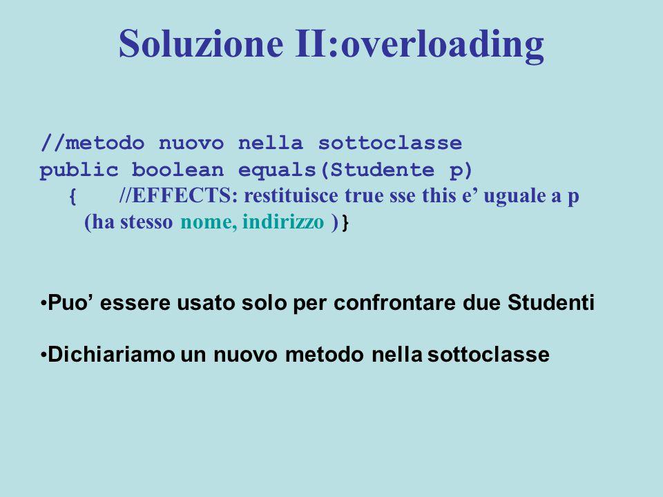 Soluzione II:overloading //metodo nuovo nella sottoclasse public boolean equals(Studente p) { //EFFECTS: restituisce true sse this e' uguale a p (ha stesso nome, indirizzo ) } Puo' essere usato solo per confrontare due Studenti Dichiariamo un nuovo metodo nella sottoclasse