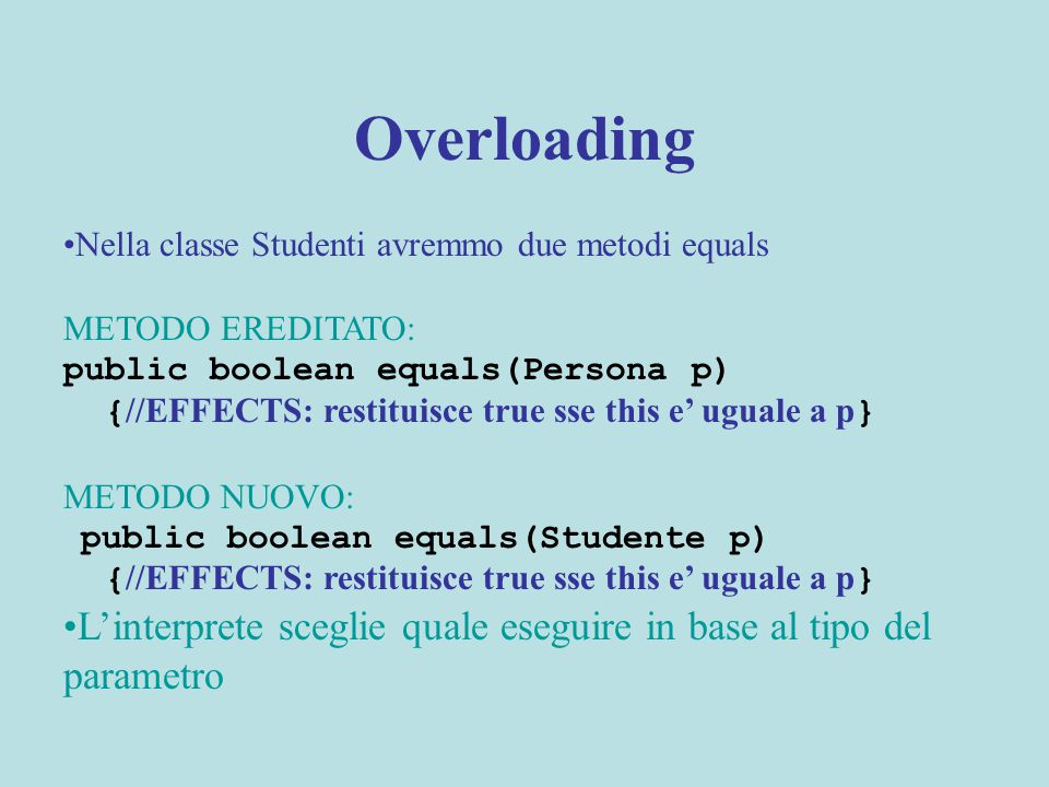 Overloading Nella classe Studenti avremmo due metodi equals METODO EREDITATO: public boolean equals(Persona p) { //EFFECTS: restituisce true sse this e' uguale a p } METODO NUOVO: public boolean equals(Studente p) { //EFFECTS: restituisce true sse this e' uguale a p } L'interprete sceglie quale eseguire in base al tipo del parametro