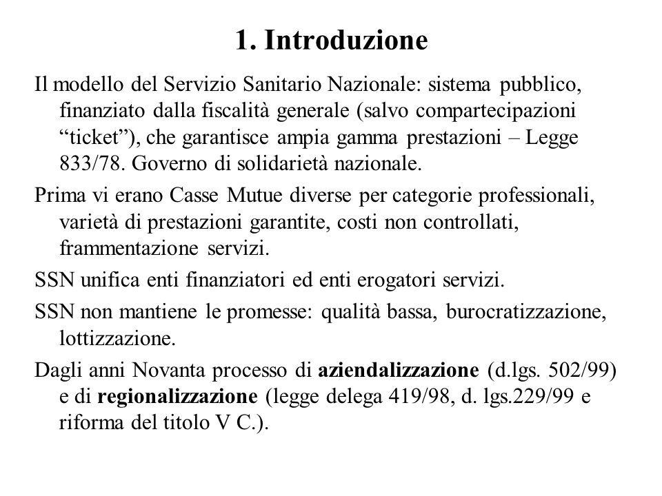 """1. Introduzione Il modello del Servizio Sanitario Nazionale: sistema pubblico, finanziato dalla fiscalità generale (salvo compartecipazioni """"ticket""""),"""
