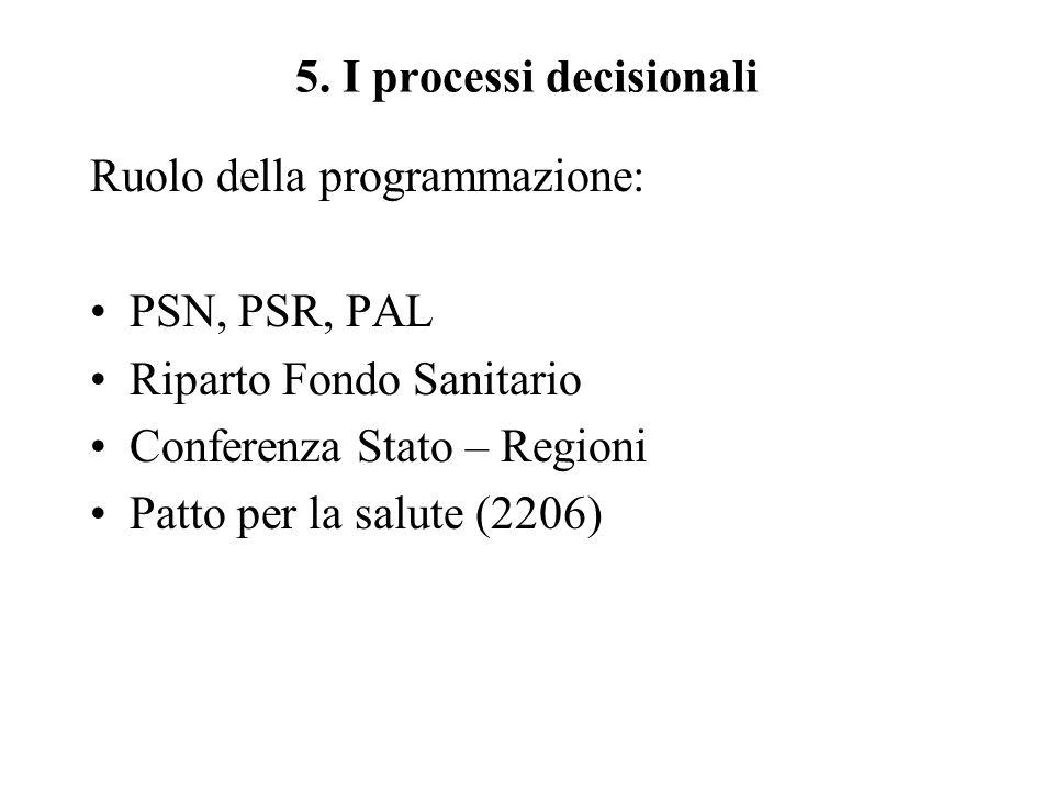 5. I processi decisionali Ruolo della programmazione: PSN, PSR, PAL Riparto Fondo Sanitario Conferenza Stato – Regioni Patto per la salute (2206)