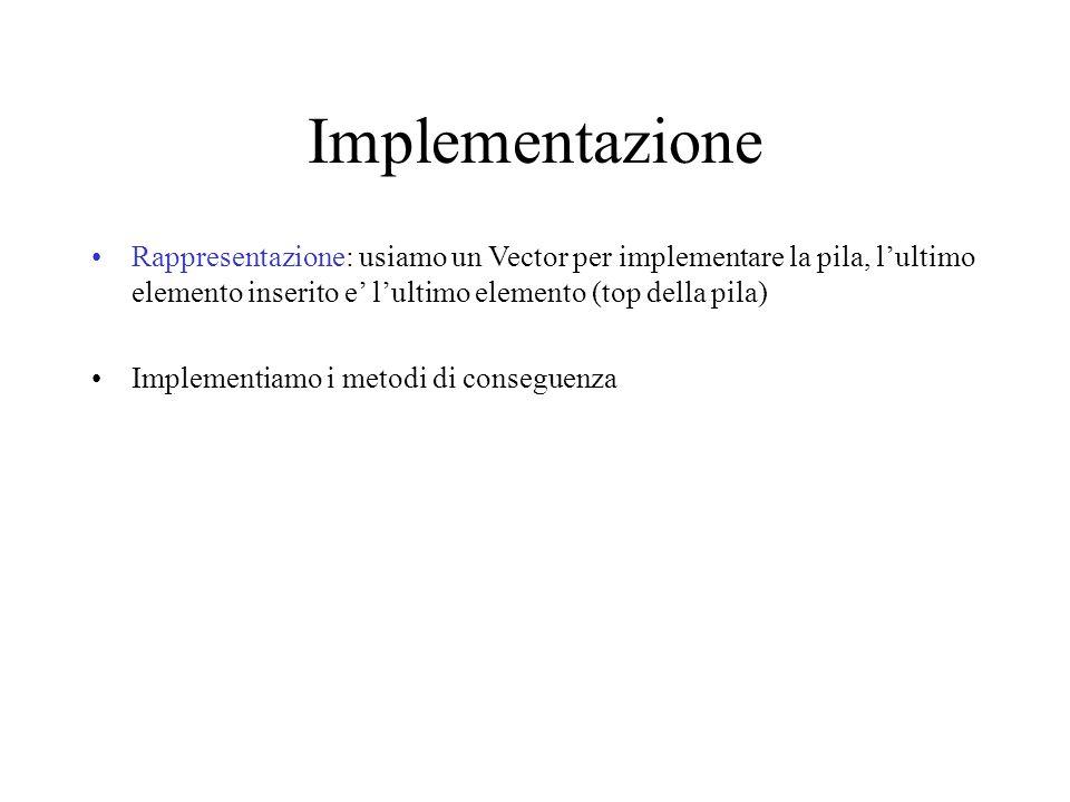 Implementazione Rappresentazione: usiamo un Vector per implementare la pila, l'ultimo elemento inserito e' l'ultimo elemento (top della pila) Implementiamo i metodi di conseguenza