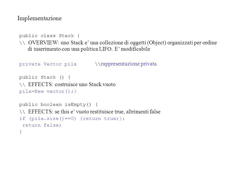Implementazione public class Stack { \\ OVERVIEW: uno Stack e' una collezione di oggetti (Object) organizzati per ordine di inserimento con una politica LIFO.