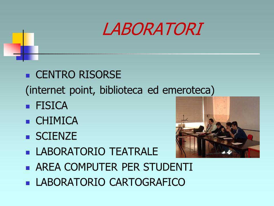 LABORATORI CENTRO RISORSE (internet point, biblioteca ed emeroteca) FISICA CHIMICA SCIENZE LABORATORIO TEATRALE AREA COMPUTER PER STUDENTI LABORATORIO CARTOGRAFICO
