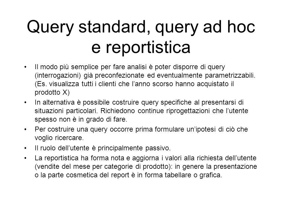 Query standard, query ad hoc e reportistica Il modo più semplice per fare analisi è poter disporre di query (interrogazioni) già preconfezionate ed ev