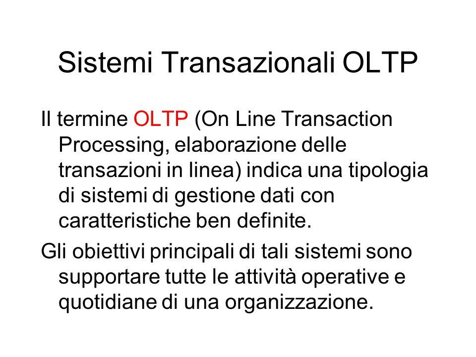 Sistemi Transazionali OLTP Il termine OLTP (On Line Transaction Processing, elaborazione delle transazioni in linea) indica una tipologia di sistemi d