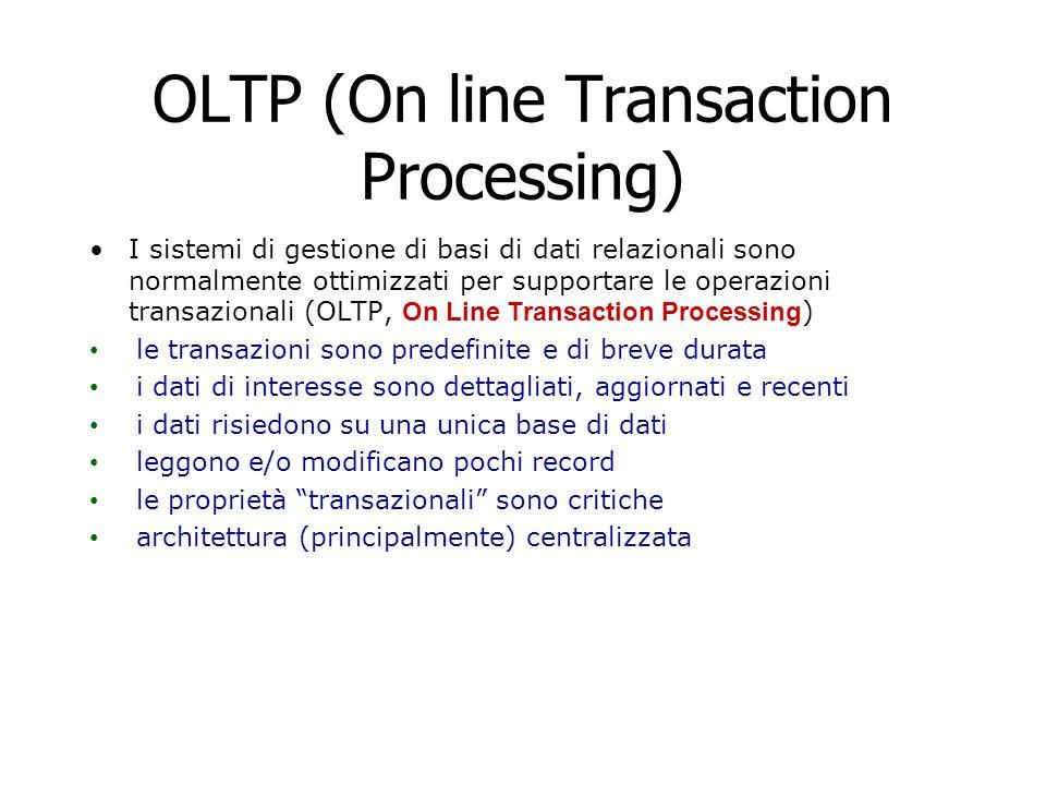OLTP (On line Transaction Processing) I sistemi di gestione di basi di dati relazionali sono normalmente ottimizzati per supportare le operazioni tran