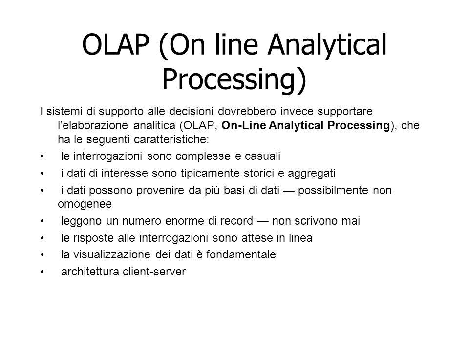 OLAP (On line Analytical Processing) I sistemi di supporto alle decisioni dovrebbero invece supportare l'elaborazione analitica (OLAP, On-Line Analyti