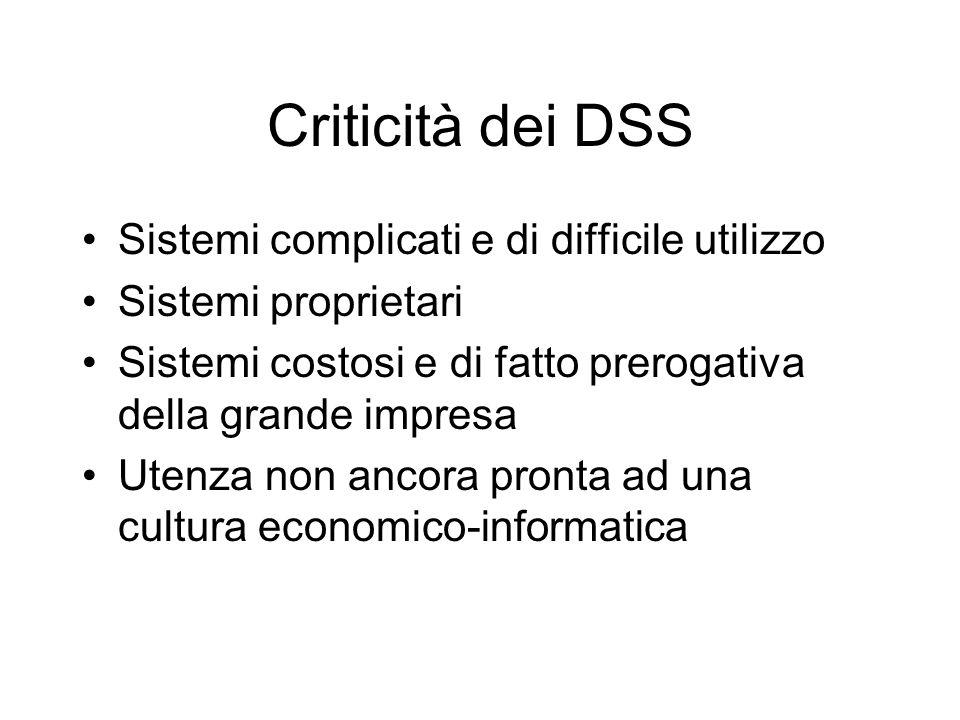 Criticità dei DSS Sistemi complicati e di difficile utilizzo Sistemi proprietari Sistemi costosi e di fatto prerogativa della grande impresa Utenza no