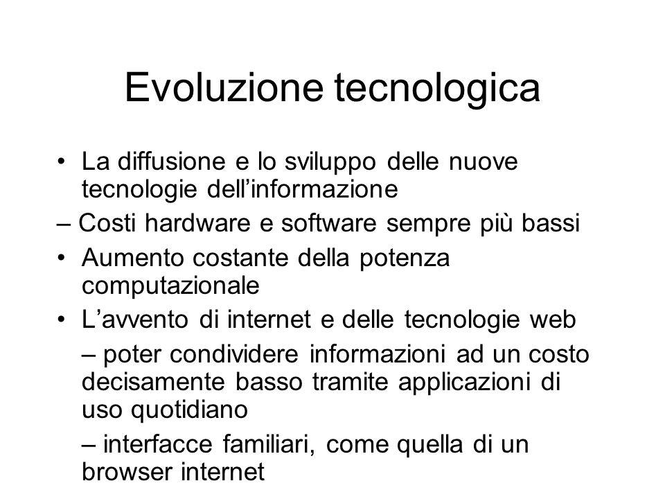 Evoluzione tecnologica La diffusione e lo sviluppo delle nuove tecnologie dell'informazione – Costi hardware e software sempre più bassi Aumento costa