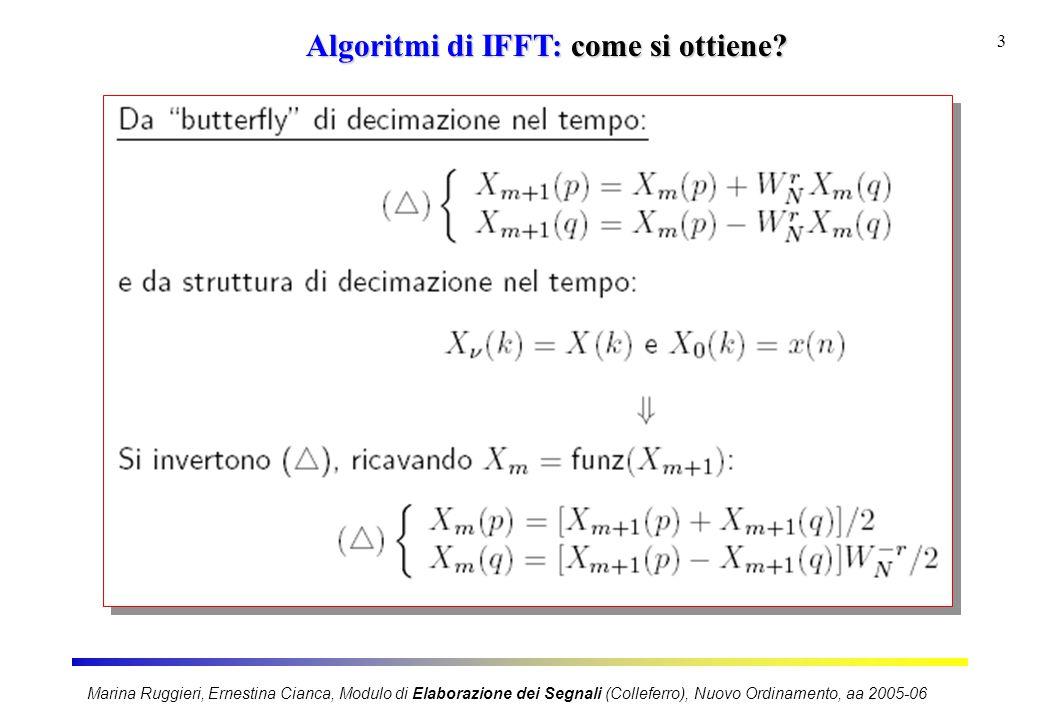 Marina Ruggieri, Ernestina Cianca, Modulo di Elaborazione dei Segnali (Colleferro), Nuovo Ordinamento, aa 2005-06 3 Algoritmi di IFFT: come si ottiene?