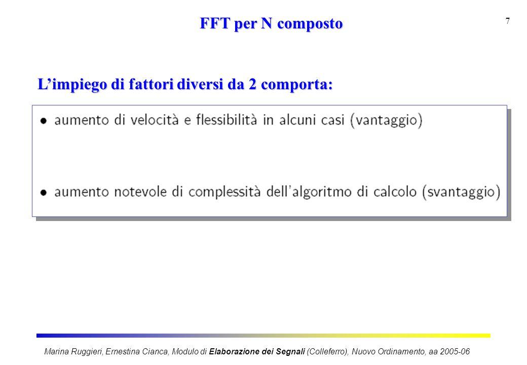 Marina Ruggieri, Ernestina Cianca, Modulo di Elaborazione dei Segnali (Colleferro), Nuovo Ordinamento, aa 2005-06 7 FFT per N composto L'impiego di fattori diversi da 2 comporta: