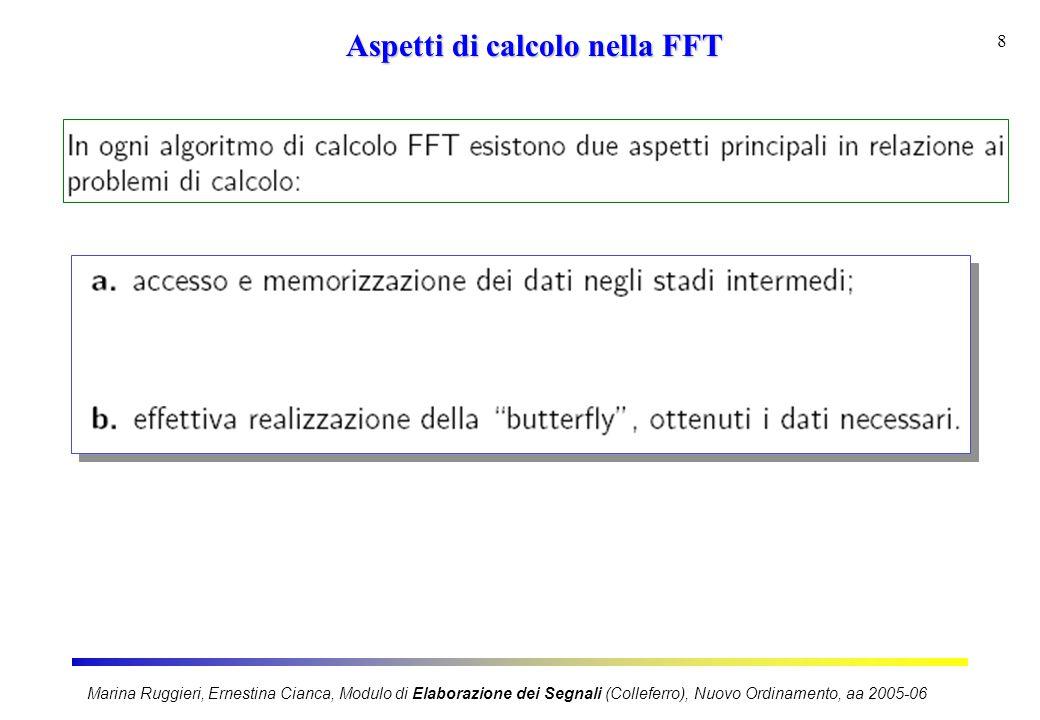 Marina Ruggieri, Ernestina Cianca, Modulo di Elaborazione dei Segnali (Colleferro), Nuovo Ordinamento, aa 2005-06 8 Aspetti di calcolo nella FFT