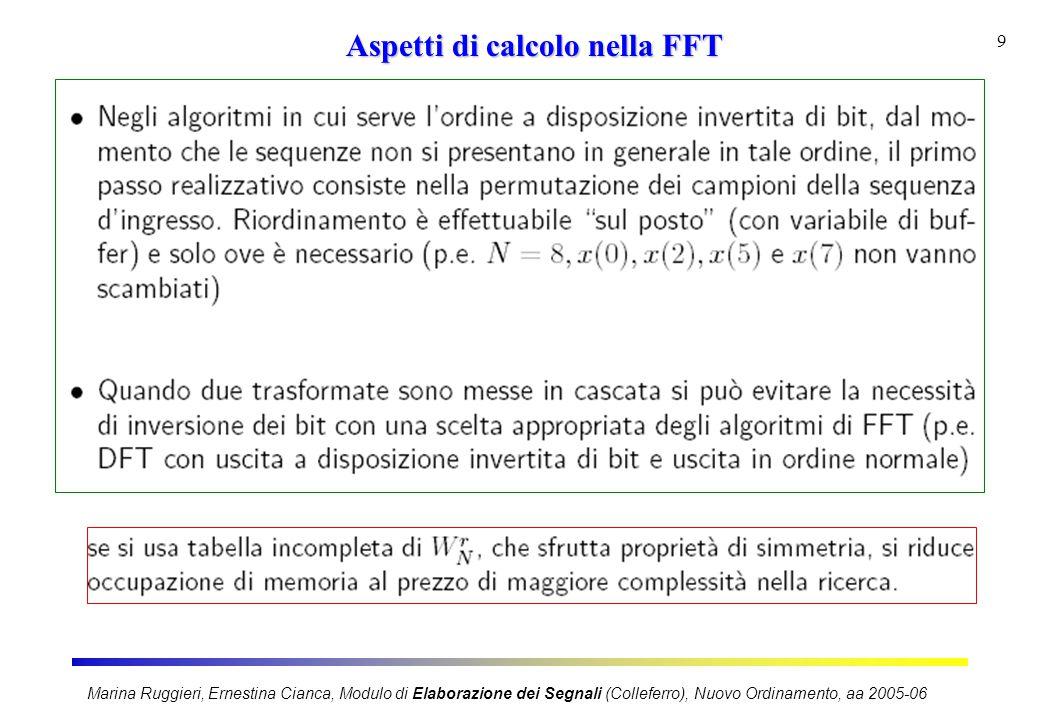 Marina Ruggieri, Ernestina Cianca, Modulo di Elaborazione dei Segnali (Colleferro), Nuovo Ordinamento, aa 2005-06 9 Aspetti di calcolo nella FFT