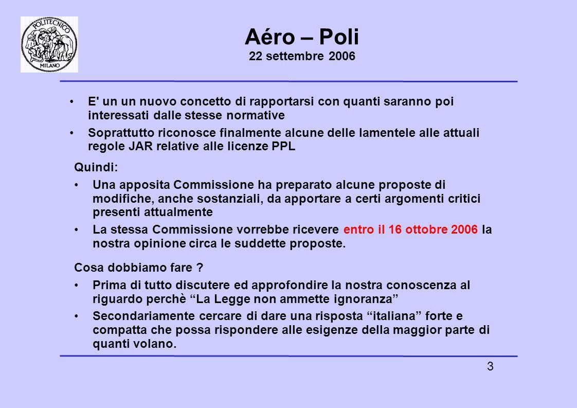 4 Aéro – Poli 22 settembre 2006 Le singole risposte devono essere obbligatoriamente compilate da ciascuno di noi quale cittadino europeo.
