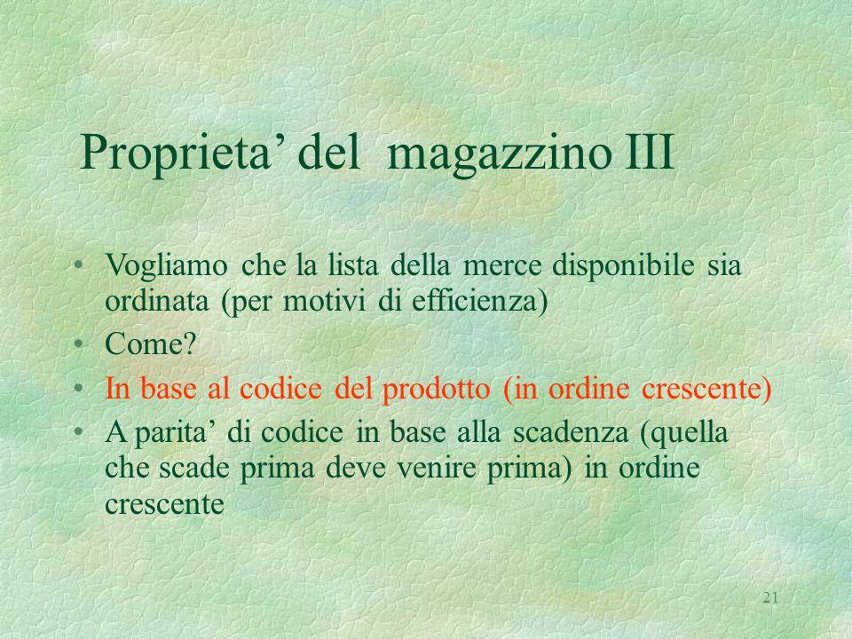 21 Proprieta' del magazzino III Vogliamo che la lista della merce disponibile sia ordinata (per motivi di efficienza) Come.