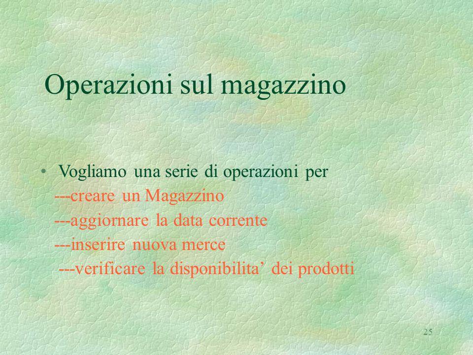 25 Operazioni sul magazzino Vogliamo una serie di operazioni per ---creare un Magazzino ---aggiornare la data corrente ---inserire nuova merce ---verificare la disponibilita' dei prodotti
