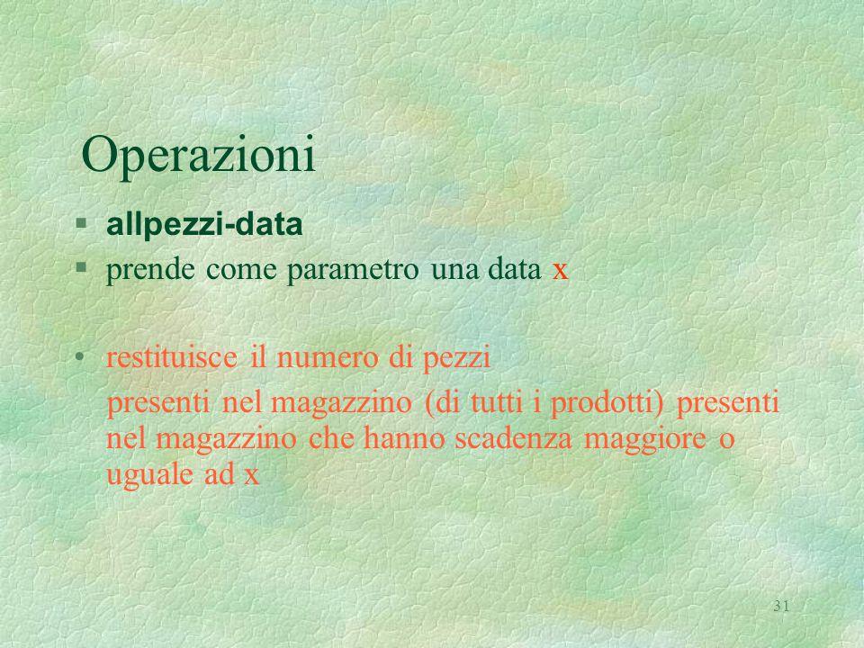 31 Operazioni  allpezzi-data §prende come parametro una data x restituisce il numero di pezzi presenti nel magazzino (di tutti i prodotti) presenti nel magazzino che hanno scadenza maggiore o uguale ad x