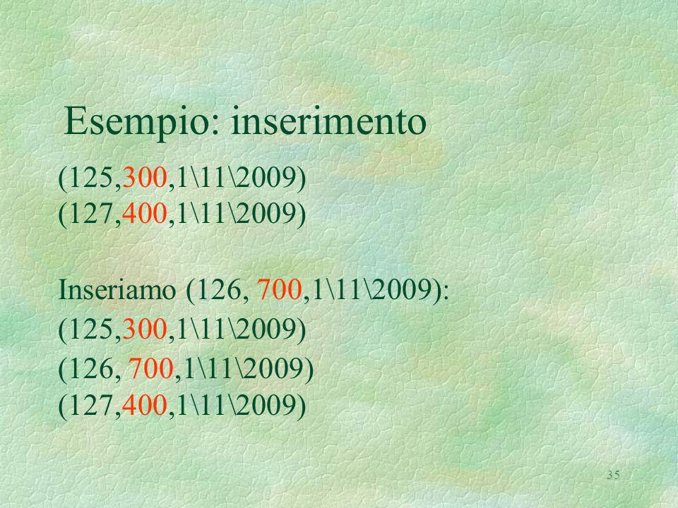 35 Esempio: inserimento (125,300,1\11\2009) (127,400,1\11\2009) Inseriamo (126, 700,1\11\2009): (125,300,1\11\2009) (126, 700,1\11\2009) (127,400,1\11\2009)