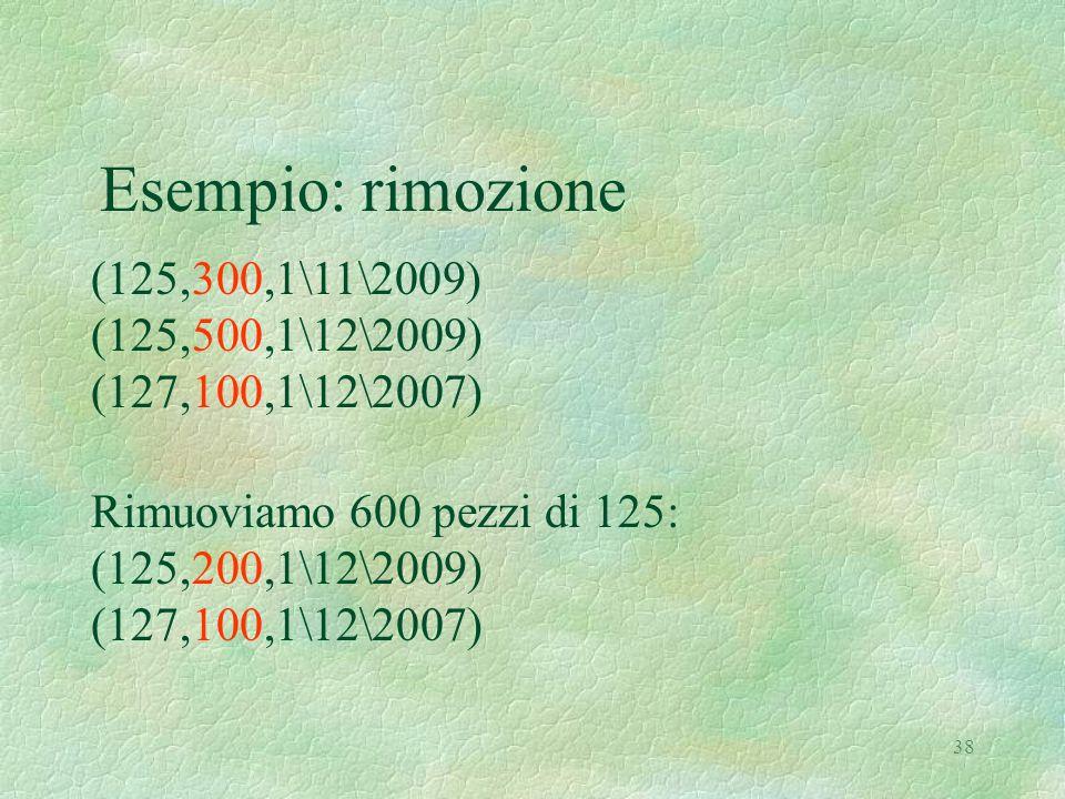 38 Esempio: rimozione (125,300,1\11\2009) (125,500,1\12\2009) (127,100,1\12\2007) Rimuoviamo 600 pezzi di 125: (125,200,1\12\2009) (127,100,1\12\2007)