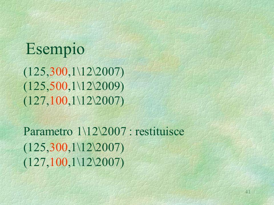 41 Esempio (125,300,1\12\2007) (125,500,1\12\2009) (127,100,1\12\2007) Parametro 1\12\2007 : restituisce (125,300,1\12\2007) (127,100,1\12\2007)