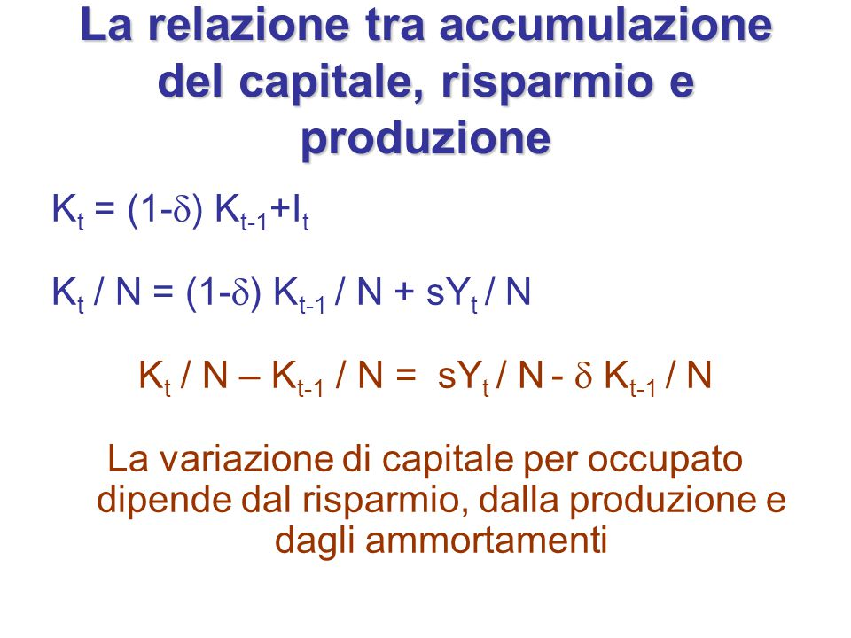 La relazione tra accumulazione del capitale, risparmio e produzione K t = (1-  ) K t-1 +I t K t / N = (1-  ) K t-1 / N + sY t / N K t / N – K t-1 /