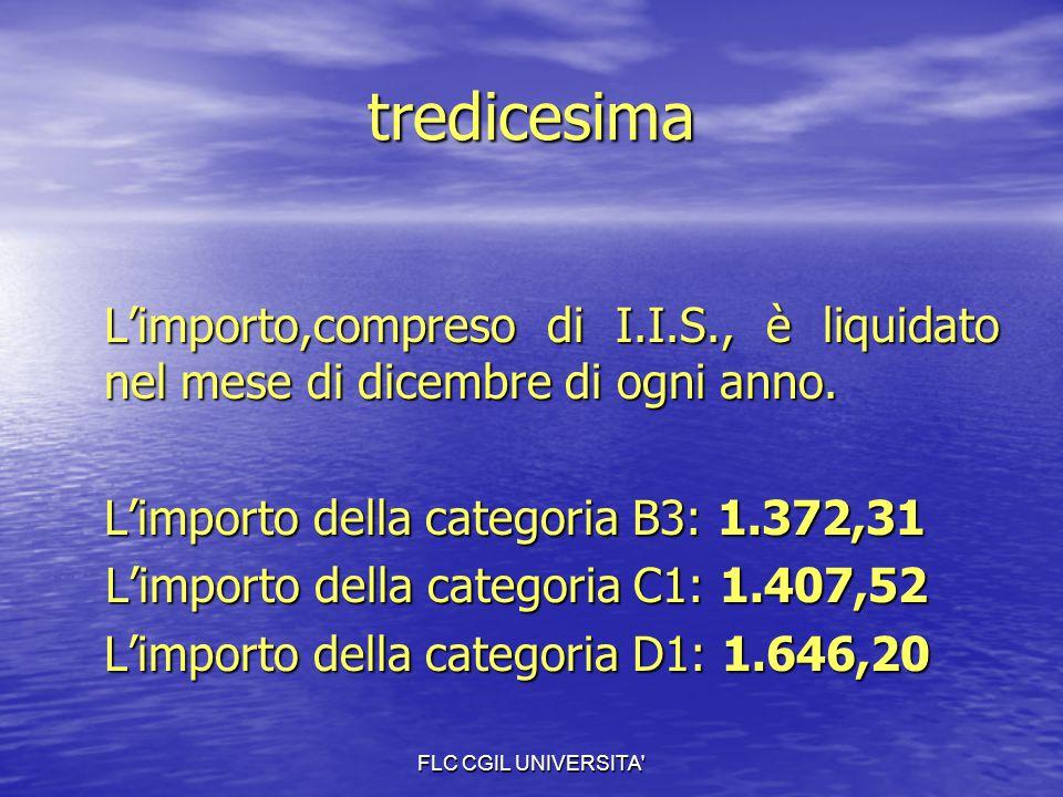 FLC CGIL UNIVERSITA' tredicesima L'importo,compreso di I.I.S., è liquidato nel mese di dicembre di ogni anno. L'importo della categoria B3: 1.372,31 L