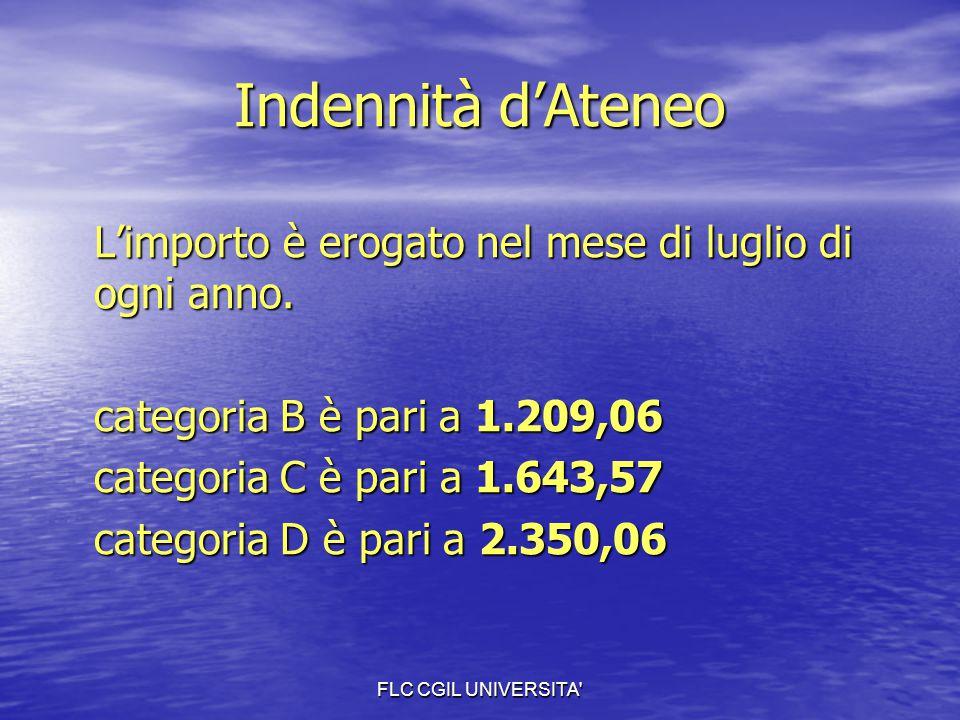 FLC CGIL UNIVERSITA' Indennità d'Ateneo L'importo è erogato nel mese di luglio di ogni anno. categoria B è pari a 1.209,06 categoria C è pari a 1.643,