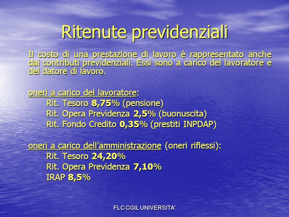FLC CGIL UNIVERSITA' Ritenute previdenziali Il costo di una prestazione di lavoro è rappresentato anche dai contributi previdenziali. Essi sono a cari