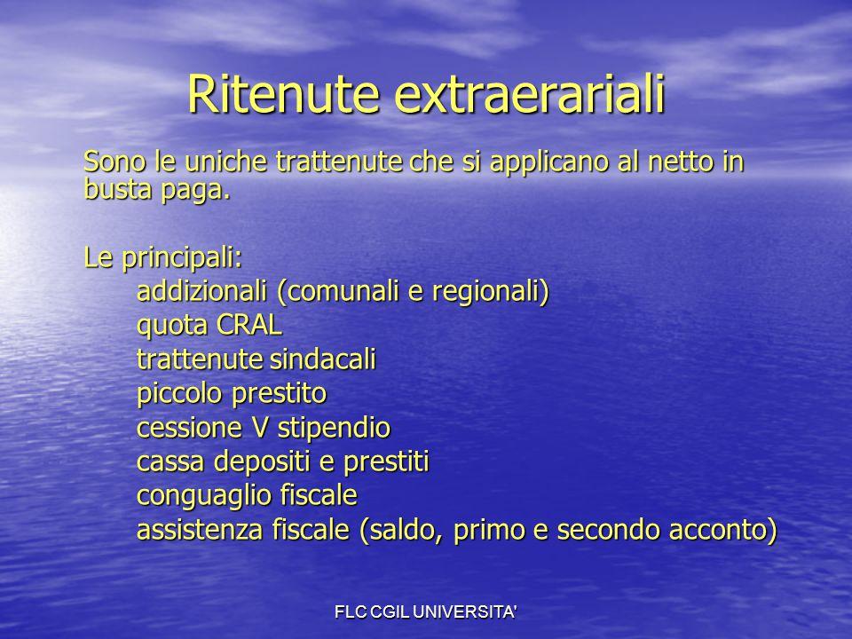 FLC CGIL UNIVERSITA' Ritenute extraerariali Sono le uniche trattenute che si applicano al netto in busta paga. Le principali: addizionali (comunali e