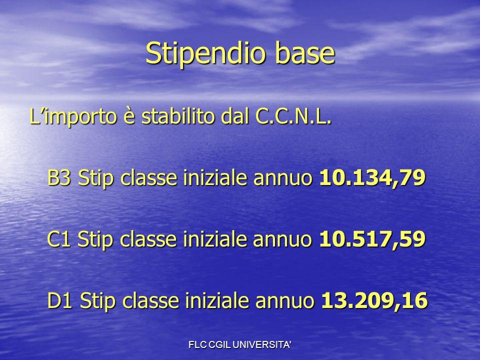 FLC CGIL UNIVERSITA' Stipendio base L'importo è stabilito dal C.C.N.L. B3 Stip classe iniziale annuo 10.134,79 C1 Stip classe iniziale annuo 10.517,59