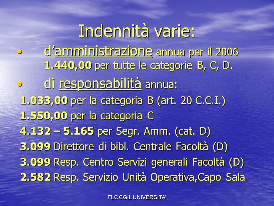 FLC CGIL UNIVERSITA' Indennità varie: d'amministrazione annua per il 2006 1.440,00 per tutte le categorie B, C, D. d'amministrazione annua per il 2006