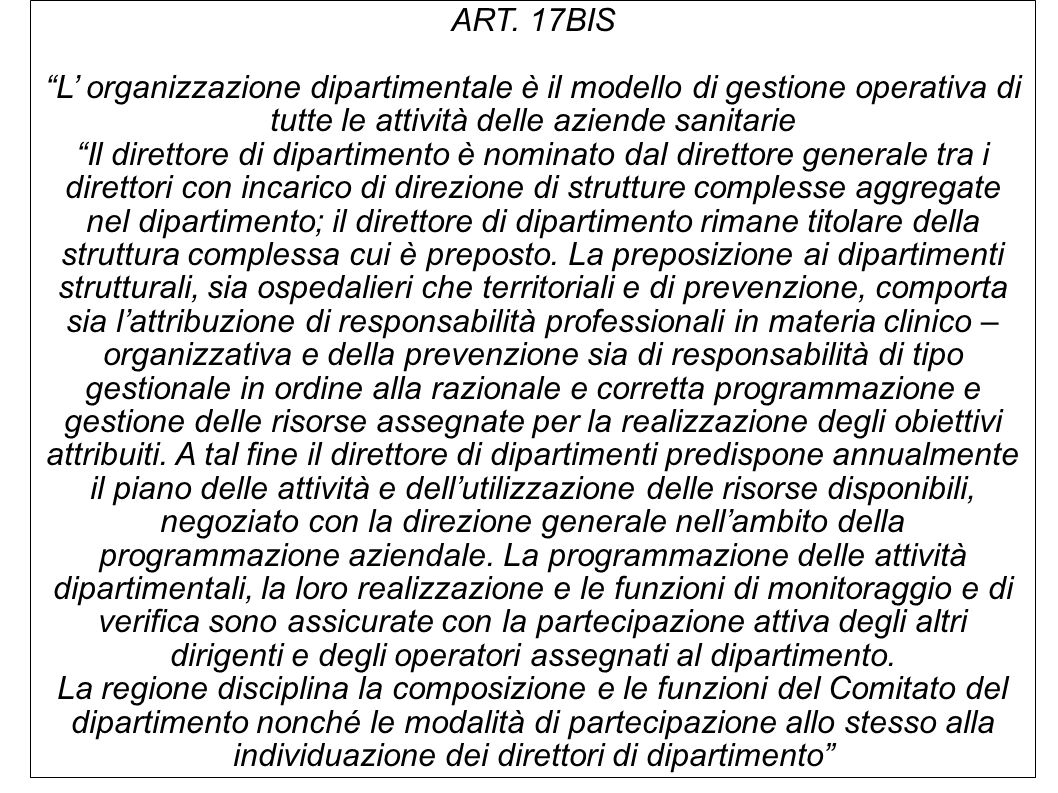 """ART. 17BIS """"L' organizzazione dipartimentale è il modello di gestione operativa di tutte le attività delle aziende sanitarie """"Il direttore di dipartim"""